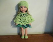 "poncho hat slippers/shoes lime green set Hand-crocheted to fit 14.5"" Wellie Wishers Dolls"