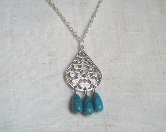 Silver Pendant with Turquoise Tear Drops, Open Scroll Work Design, Trendy, Bohemian Flair, Statement Necklace, Pear Shape Pendant,Flowers