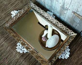 Hollywood Regency Vintage Mirrored Tray - Hanging Vanity Wall Art or Perfume Holder + Home Decor, Mid Century Dresser Dish With Mirror