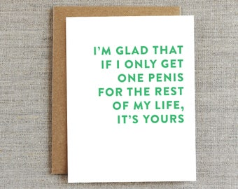 Funny Love Card, Funny Penis Card, Funny Anniversary Card, Humor Card, Card for Him, Card for Boyfriend, Card for Husband