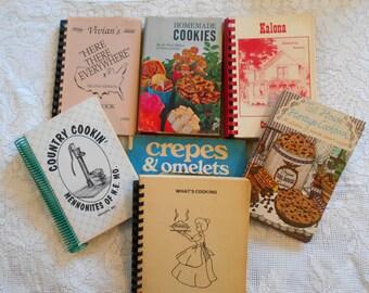 7 Vintage Cookbooks Nice Variety Crepes Cookies Variety Cookbooks  B
