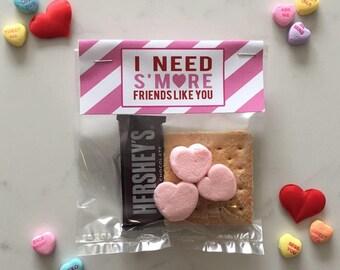 Valentineu0027s Day Favor Tag / Su0027more Friends Like You / Su0027more Valentine