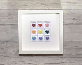 Fused Glass, Heart Wall Art, Valentine's Gift, Rainbow Glass, Heart Decor, Framed Hearts, Rainbow Decor, Love Hearts, Wedding, Anniversary