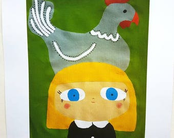 A3 Print of Blonde  Girl With Chicken on Head