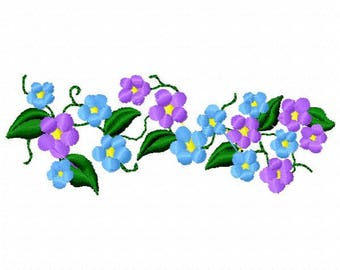Vine of Flowers Machine Embroidery Design - Instant Download