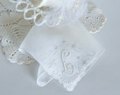 Wedding Handkerchief with L Monogram in Ivory, Something Old Bridal Hanky for a Bridal Bouquet