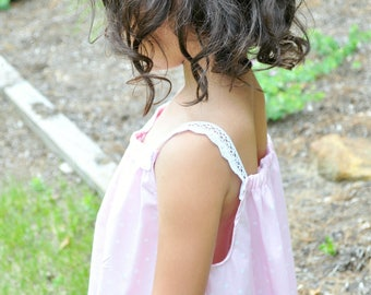 Cotton Summer Nightgown for Tween Girls, Pink and White Polka Dots, Girls 9/10, Rose and Ruffle Original