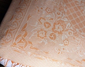 Antique French bedspread throw coverlet bed spread orange cotton woven reversible ROMANTIC design w roses fringes, vintage French bed linens