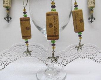Wine Cork Ornaments with Starfish Tibetan Silver Charm- Package Embellishment - Swarovski Crystals - Fun - Whimsical - Wine Tree Decor