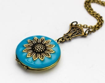 Blue Enamel Locket - Sunflower Necklace - Enamel Locket - Antique Brass