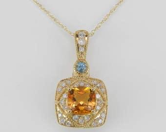 "Diamond Yellow Sapphire Blue Topaz Necklace Pendant 14K Yellow Gold Chain 18"""