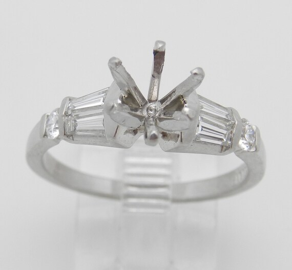 RESERVED Diamond Engagement Ring Setting Semi Mount Mounting Platinum Size 8.5