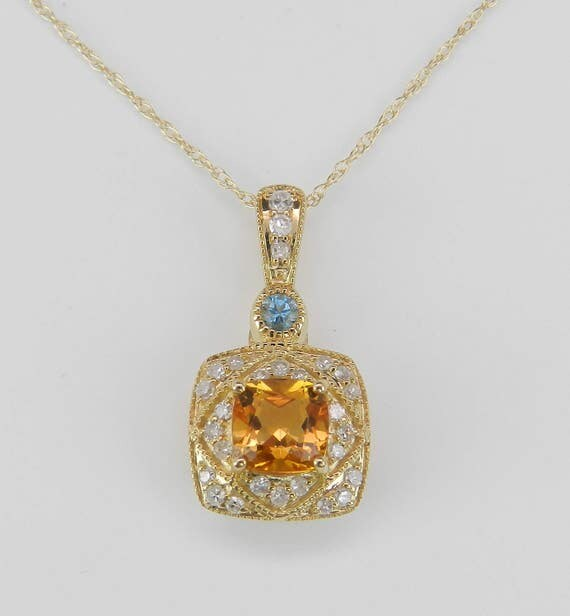 Diamond Yellow Sapphire Blue Topaz Necklace Pendant 14K Yellow Gold Chain 18""