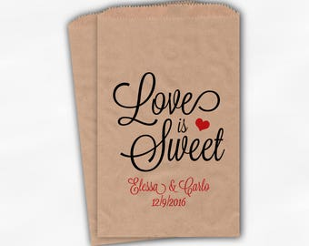Love Is Sweet Script Wedding Candy Buffet Treat Bags - Personalized Favor Bags in Black and Red - Custom Kraft Paper Bags (0168)