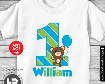 Boy Teddy Bear Birthday Shirt or Bodysuit - Personalized with Child's Name & Age