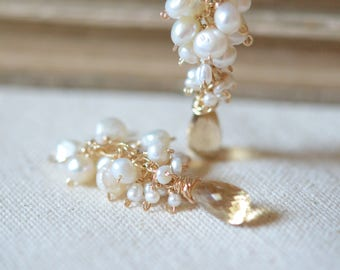 Freshwater Pearl with Champagne Quartz Cluster Earrings