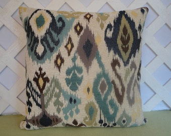 Ikat Pillow Cover in Blue Yellow Brown Ivory / Geometric Pillow / Accent Pillow / Blue Yellow Pillow / Decorative Pillow / 18 x 18 Pillow