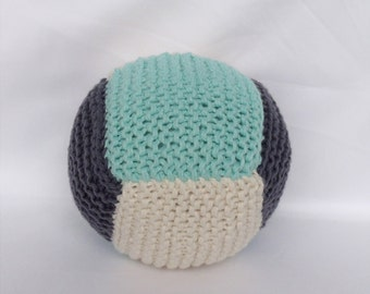 Cotton Baby Ball Rattle - Dark Grey and Mint