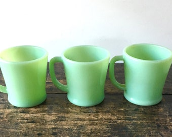 Jadeite Green Fire King D Handle Mugs USA, Set of 3