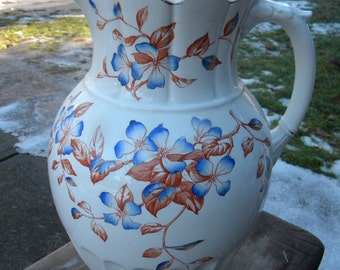 gorgeous big clean 1800s early 1900s HENRY ALCOCK wash stand porcelain PITCHER floral transferware england