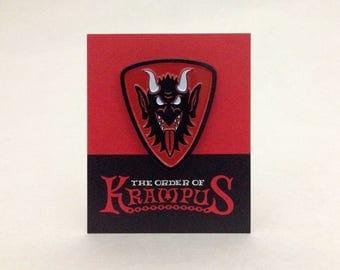 Krampus Face heraldic shield enamel pin: Order Of Krampus