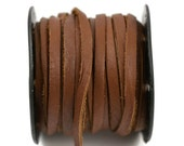 5mm Flat Leather Cord - Light Brown - Deertan Lace Water Resistant - 10 Feet