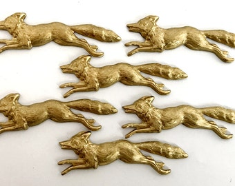 Brass Fox Stampings, Running Fox Stampings, Vintage Fox, Vintage Jewelry Supplies, Patina Brass, B'sue Boutiques, 47 x 16mm Item09610