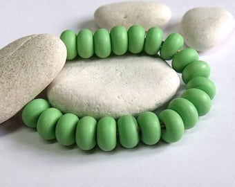 Pea Green, (Etched), Lampwork Spacer Beads, SRA, UK