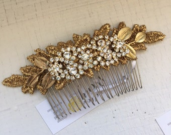 Gold Leaf and Rhinestone Bridal Hair Comb with Lace, rhinestones, diamonds, wedding hair accessory