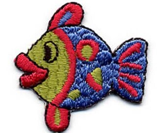 Embroidered Iron-On Applique Fish, 1+1/2 x 1+3/8 inch