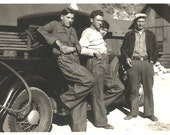 "Vintage Snapshot ""Taking A Break"" Men At Work Baggy Blue Jeans Antique Truck Wire Wheels Found Vernacular Photo"