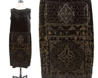1920s Dress // Black Velvet Gold and Gunmetal Beaded Metallic Embroidered Dress Made In France