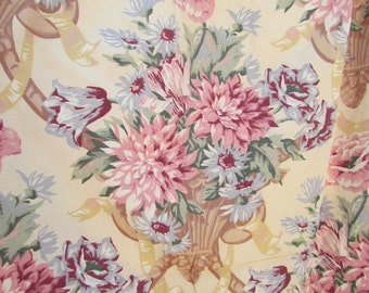 Vintage Pastel Pair Rayon Floral Curtains Barkcloth Era French English Cottage Chic Fabric 80 x 46 Cartouche Ribbons