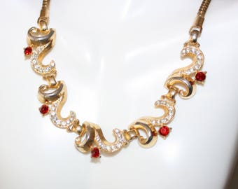 Stunning, Vintage Lisner, Ruby Red and White Rhinestone Necklace