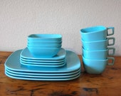 Vintage Turquoise Brookpark Modern Design Melmac Vintage Service for 4 Turquoise Melmac Plates Cups Bowls from The Eclectic Interior