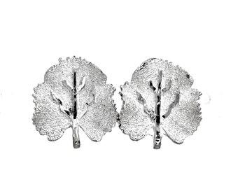 BSK earrings brushed silvertone leaf shiny veins signed BSK vintage