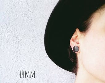 14 mm vinyl record stud earrings black studs black earrings black post earrings recycled jewelry unisex studs black stud earrings