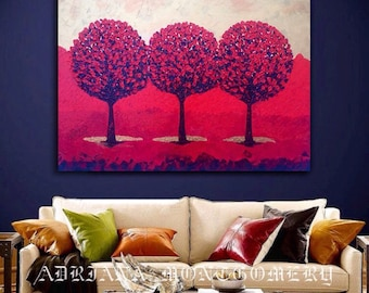 Red Tree Art Impasto Painting, Modern Canvas Art Landscape Painting, ORIGINAL Acrylic Paintin, Red Tree Painting, Red trees painting