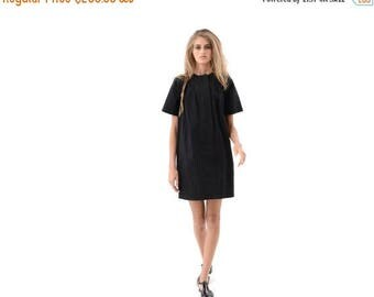 Classic Black Shirt Dress for Day or Evening, Cute Everyday Casual Dress with Short Sleeves and Pockets, Trendy Fashion Dress with Stitching