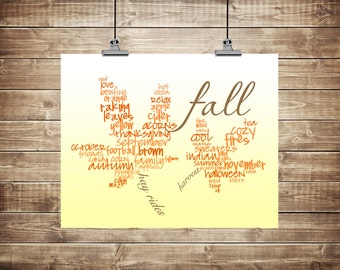 "Instant Download, ""All Things Fall"" Typography Art, digital file, 8x10"