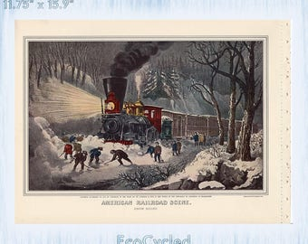Railroadiana Currier & Ives Vintage Lithograph Print American Railroad Scene Prairie Fires Great West Train Paper Ephemera Book Page  z17-18