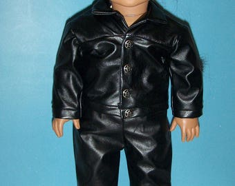 Faux Leather vinyl Jacket , Pants, Biker, Motorcycle outfit,fits American Girl/ Boy Doll or similar 18 inch Dolls