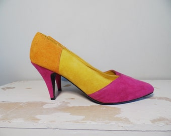 Vtg 80s Neon Suede Colorblock Pumps // Cara Leigh // Leather Pointy Toe // Pink Yellow Orange Heels // Womens Shoes Size 7.5 M