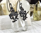 Cthulhu Quartz Ear Weights, ear weights, dangle plugs, plug weights, wedding plugs, dangles for gauged ears, dangle plugs, plugs, gauges