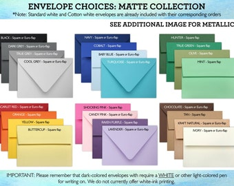 ENVELOPE UPGRADES - A7 Colored and Metallic Invitation Envelopes