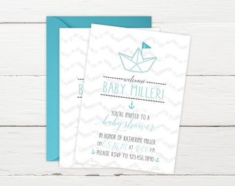 Baby Shower Invitations - Nautical Baby Shower Invitations - Printed Invitation Cards - Personalized Nautical Baby Shower Invitations