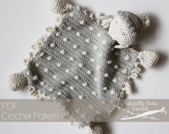 Crochet Pattern: The Woolsly Lamb Lovie one size mini blanket blankie baby shower infant gift polka dot sheep pom pom