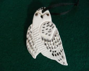 Snowy Owl Ceramic Ornament - Handmade