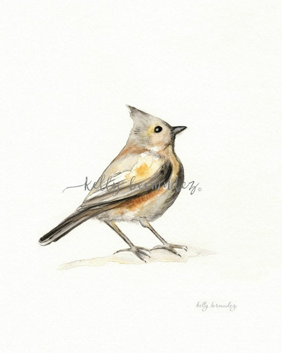 A Song of Ascent / Brown / Yellow /  Gray / Bird Watercolor printable