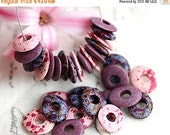 ON SALE Beads mix in Pink, Purple, Violet, greek Ceramic Cornflake beads, donut, for leather cord, washer, 10mm - 30pc - 2762